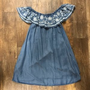 Chelsea & Theodore Chambray Off the Shoulder Dress
